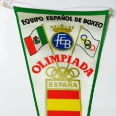 Coleccionismo deportivo: BANDERÍN DE BOXEO - EQUIPO OLÍMPICO ESPAÑOL MÉXICO 1968 - OLIMPIADA. Lote 85946328