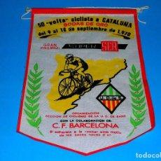 Coleccionismo deportivo: BANDERÍN TELA, 50 VOLTA CICLISTA CATALUÑA, BODAS DE ORO, GRAN PREMIO SUPER SER, U.D. SANS, AÑO 1970.. Lote 69654733