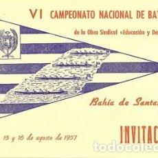 Coleccionismo deportivo: V I CAMPEONATO NACIONAL DE BATELES DE LA OBRA SINDICAL ((EDUCACION Y DESCANSO)) BAHIA DE SANTANDER. Lote 75498771