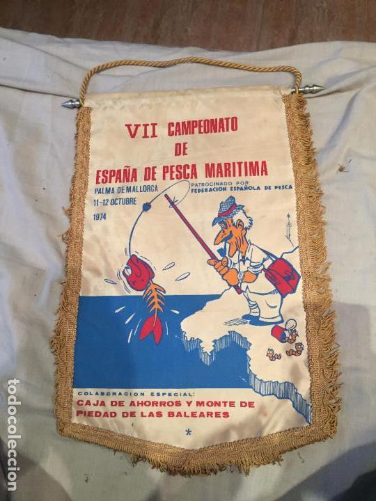 VII CAMPEONATO DE ESPAÑA DE PESCA MARITIMA, PALMA DE MALLORCA, 1974 40X26, UNICO! (Coleccionismo Deportivo - Banderas y Banderines otros Deportes)