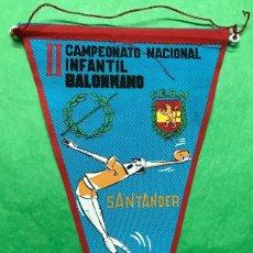 Coleccionismo deportivo: BANDERÍN II CAMPEONATO NACIONAL INFANTIL DE BALONMANO - SANTANDER, MAYO 1967. Lote 85765580