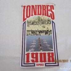 Coleccionismo deportivo: BANDERIN LONDRES 1908 BIMBO FICHA DE DROANDO PIETRI EN LA TRASERA. Lote 100601291