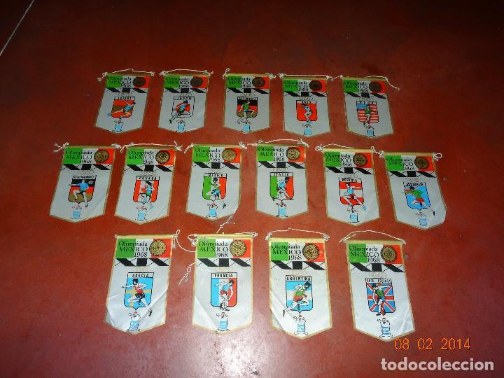 ANTIGUO LOTE DE 15 BANDERINES PAISES PARTICIPANTES EN LA OLIMPIADA DE MEXICO 1968 PUBLICIDAD DE GIOR (Coleccionismo Deportivo - Banderas y Banderines otros Deportes)