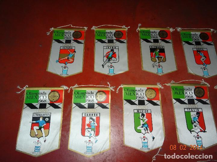 Coleccionismo deportivo: Antiguo Lote de 15 Banderines Paises Participantes en la Olimpiada de MEXICO 1968 Publicidad de GIOR - Foto 2 - 111191479