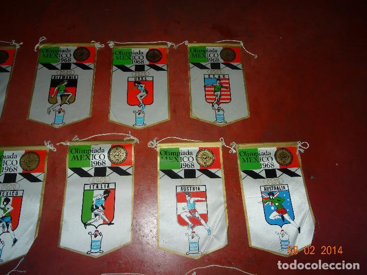 Coleccionismo deportivo: Antiguo Lote de 15 Banderines Paises Participantes en la Olimpiada de MEXICO 1968 Publicidad de GIOR - Foto 3 - 111191479