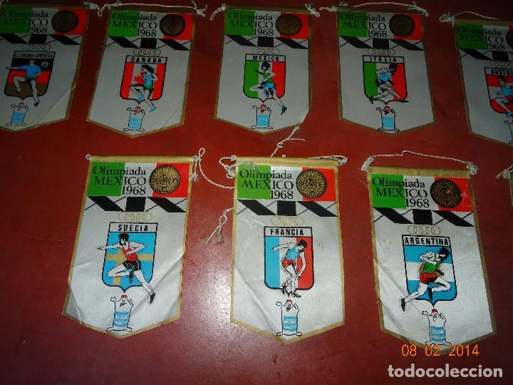 Coleccionismo deportivo: Antiguo Lote de 15 Banderines Paises Participantes en la Olimpiada de MEXICO 1968 Publicidad de GIOR - Foto 4 - 111191479