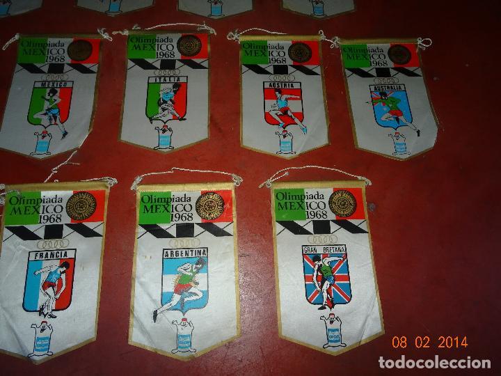 Coleccionismo deportivo: Antiguo Lote de 15 Banderines Paises Participantes en la Olimpiada de MEXICO 1968 Publicidad de GIOR - Foto 5 - 111191479
