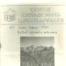 Coleccionismo deportivo: 1092.-EXCURSIONISME-MUNTANYA-CENTRE EXCURSIONISTA LLINARS DEL VALLES-BUTLLETI Nº 1 GENER 1984. Lote 112245939