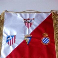 Coleccionismo deportivo: BANDERIN MATCH WORN TROFEO CARRANZA 2010 SEVILLA FC,RCD ESPANYOL,CADIZ ,ATLÉTICO MADRID. Lote 121122767