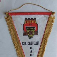 Coleccionismo deportivo: ANTIGUO BANDERIN EQUIPO BALONCESTO C.B. SANT VICENÇ DE CASTELLET BARTRA ORIGINAL AÑOS 70. Lote 132996690