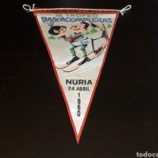 Coleccionismo deportivo: BANDERÍN TELA, ESQUI III TROFEO BAIXA COM PUGUIS. NURIA, O. SINDICAL EDUCACIÓN Y DESCANSO, 25-4-1960. Lote 134449142