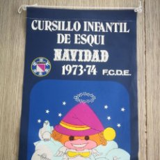 Coleccionismo deportivo: ANTIGUO BANDERIN CURSILLO INFANTIL DE ESQUI - NAVIDAD 1973 - FCDE - FEDERACIÓN CASTELLANA DE ESQUI -. Lote 138059714