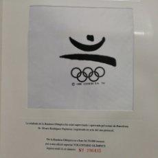 Coleccionismo deportivo: BANDERA OLÍMPICA- RECORD OLÍMPIC, EDICIÓ ESPECIAL VOLUNTARIS OLÍMPICS+ CARTA AGRAÏMENT, BARCELONA92.. Lote 150951905