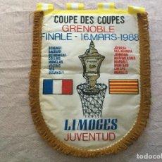 Coleccionismo deportivo: BANDERIN JUVENTUD LIMOGES FINAL GRENOBLE 16 - 1988. BASQUET BALONCESTO. JUVENTUT BADALONA. Lote 151235094