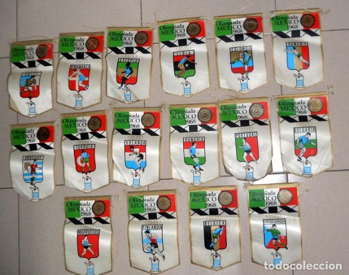 SUPER LOTE 16 BANDERINES BANDERIN OLIMPIADAS MÉXICO 68 JUEGOS OLÍMPICOS PAISES - DETERGENTE GIOR - (Coleccionismo Deportivo - Banderas y Banderines otros Deportes)