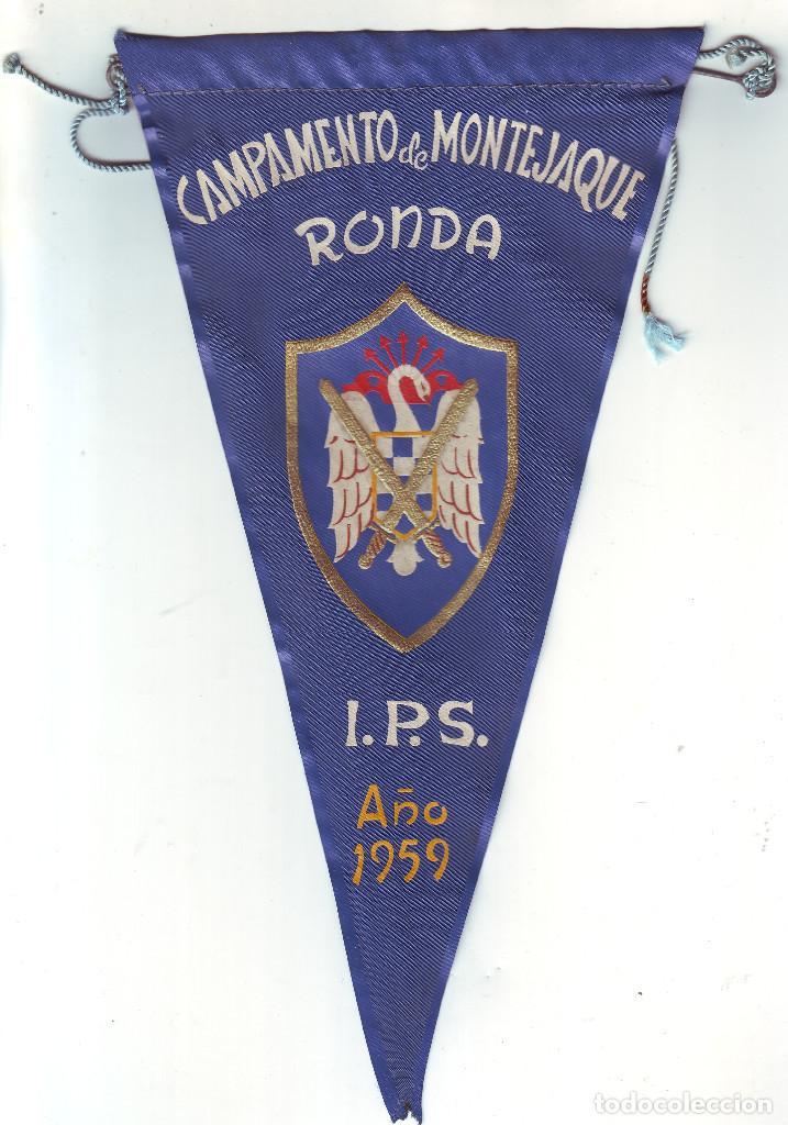 BANDERÍN DEL CAMPAMENTO DE MONTEJAQUE DE RONDA 1959 INSITUTO POLITICA SOCIAL (Coleccionismo Deportivo - Banderas y Banderines otros Deportes)