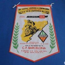 Coleccionismo deportivo: BANDERÍN TELA, 50 VOLTA CICLISTA CATALUÑA, BODAS DE ORO, GRAN PREMIO SUPER SER, U.D. SANS, AÑO 1970.. Lote 165692340