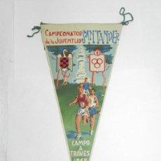 Coleccionismo deportivo: BANDERIN CAMPEONATOS DE LA JUVENTUD, SEU, SANTANDER, CAMPO A TRAVES 1958, MIDE 28 CMS. DE LONGITUD. Lote 170652925