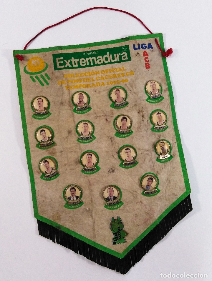 BANDERÍN: COLECCIÓN OFICIAL DE PINS DEL CACERES CB, TEMPORADA 1995-96. (Coleccionismo Deportivo - Banderas y Banderines otros Deportes)
