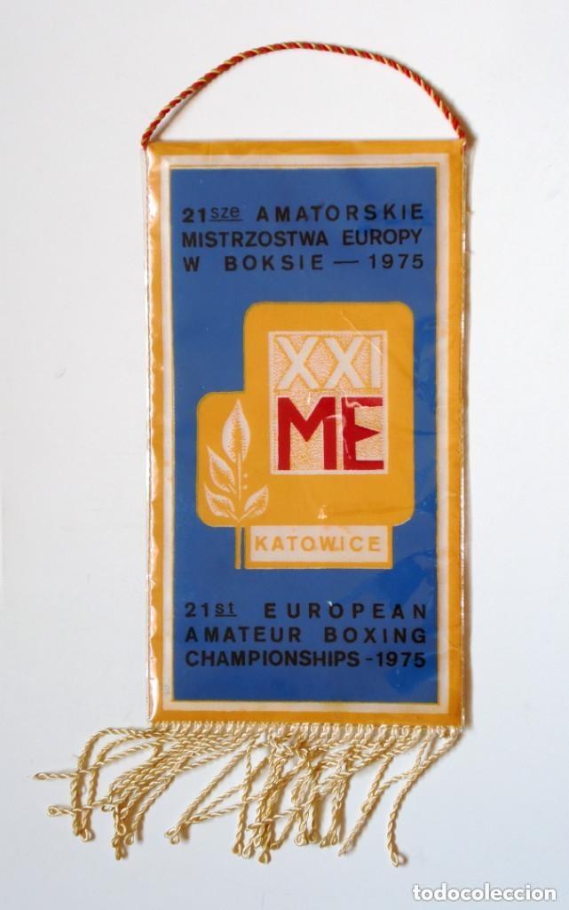 BANDERÍN BOXEO: 21ST EUROPEAN AMATEUR BOXING CHAMPIONSHIPS 1975. (KATOWICE, POLONIA) POLSKA (Coleccionismo Deportivo - Banderas y Banderines otros Deportes)