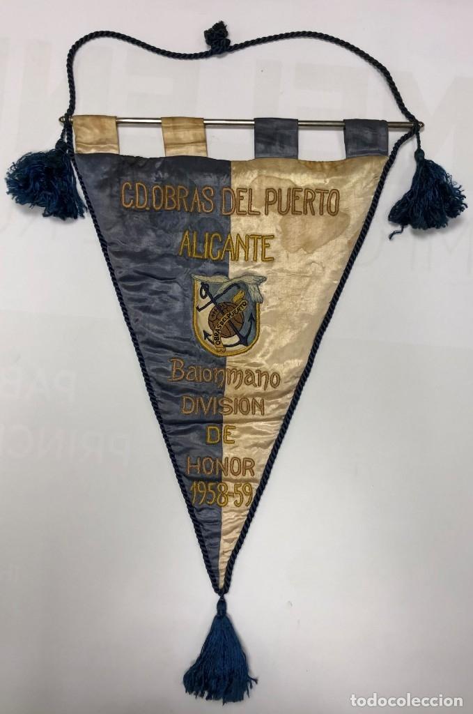 OBRAS DEL PUERTO ALICANTE - BALONMANO - 1958 (Coleccionismo Deportivo - Banderas y Banderines otros Deportes)