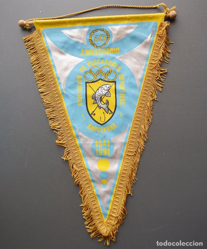 BANDERIN - 50 ANIVERSARIO - ASOCIACION DE PESCADORES DEPORTIVOS - 1941 - 1991 (Coleccionismo Deportivo - Banderas y Banderines otros Deportes)