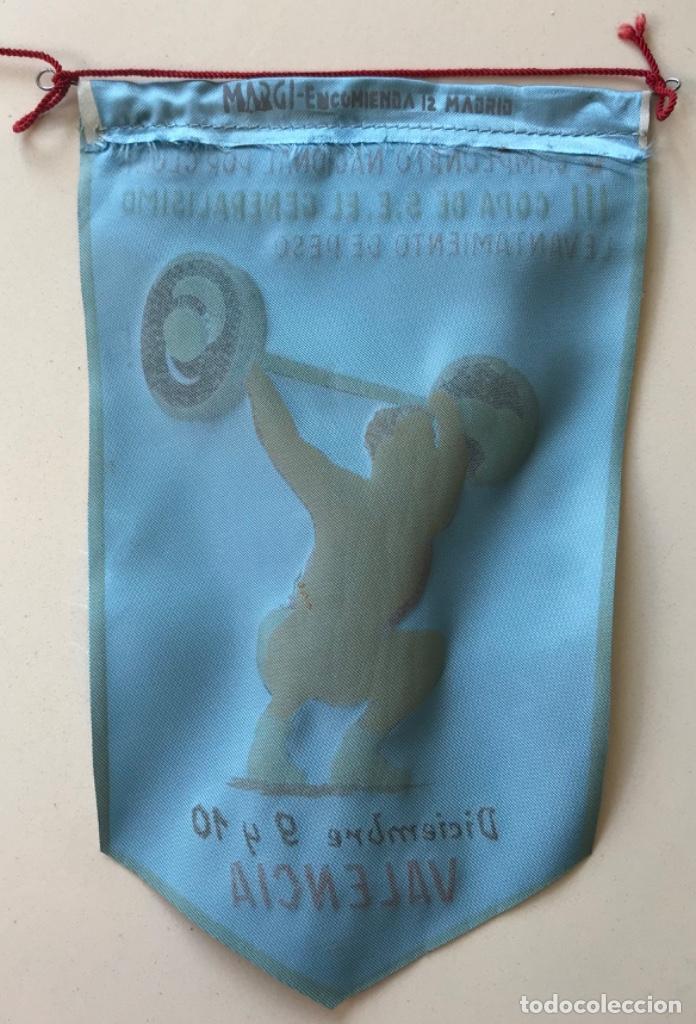 Coleccionismo deportivo: Banderín V campeonato nacional - III Copa s.e. El generalisimo - Levantamiento de peso - Valencia - Foto 2 - 194111381