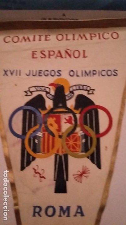 BANDERIN DEL COMITÉ OLIMPICO ESPAÑOL.XIII JUEGOS OLÍMPICOS.ROMA MCMLX (Coleccionismo Deportivo - Banderas y Banderines otros Deportes)