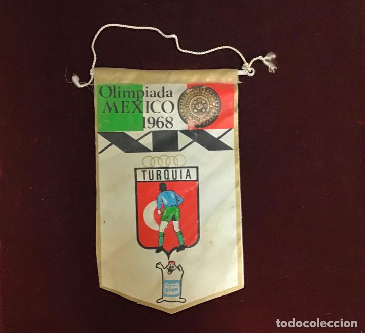 GIOR, BANDERÍN TURQUÍA, OLIMPIADA MEDICO 1968 (Coleccionismo Deportivo - Banderas y Banderines otros Deportes)