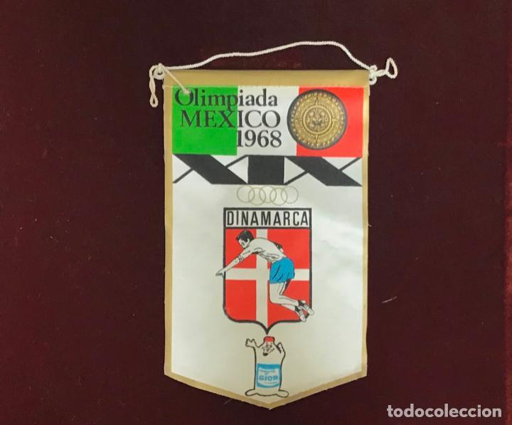 GIOR, BANDERÍN DINAMARCA, OLIMPIADAS MEXICO 1968 (Coleccionismo Deportivo - Banderas y Banderines otros Deportes)