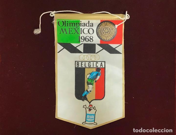 GIOR, BANDERÍN BÉLGICA, OLIMPIADA MEXICO 1968 (Coleccionismo Deportivo - Banderas y Banderines otros Deportes)