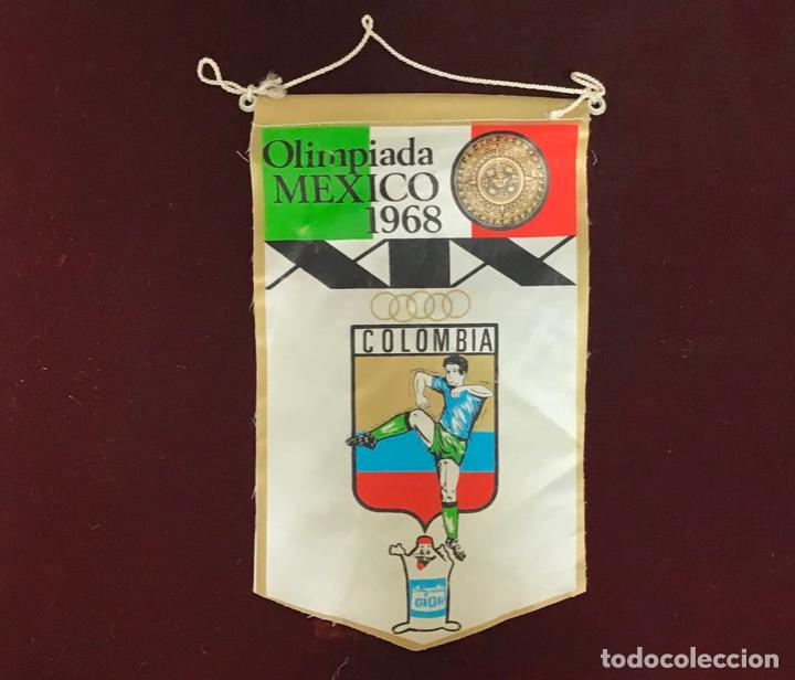 GIOR, BANDERÍN COLÔMBIA, OLIMPIADA MEXICO 1968 (Coleccionismo Deportivo - Banderas y Banderines otros Deportes)