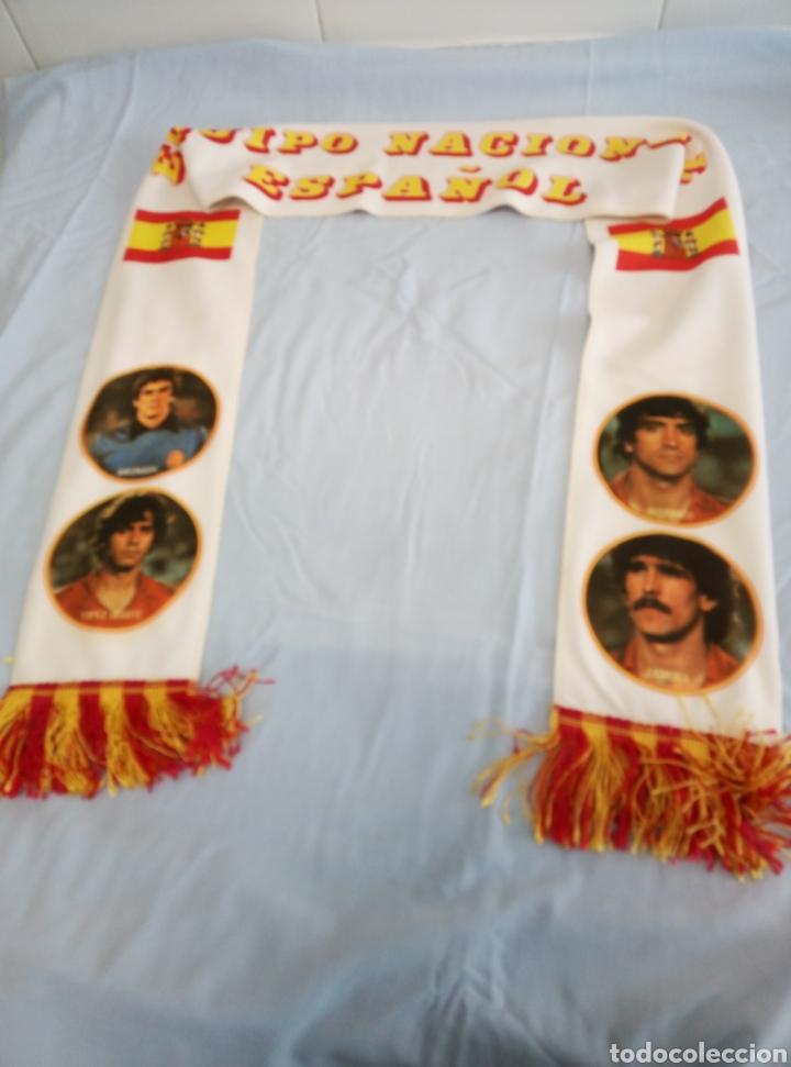 Coleccionismo deportivo: Bufanda del Equipo Nacional Español de Fútbol. De la etapa Quini, Arconada. - Foto 3 - 219695003