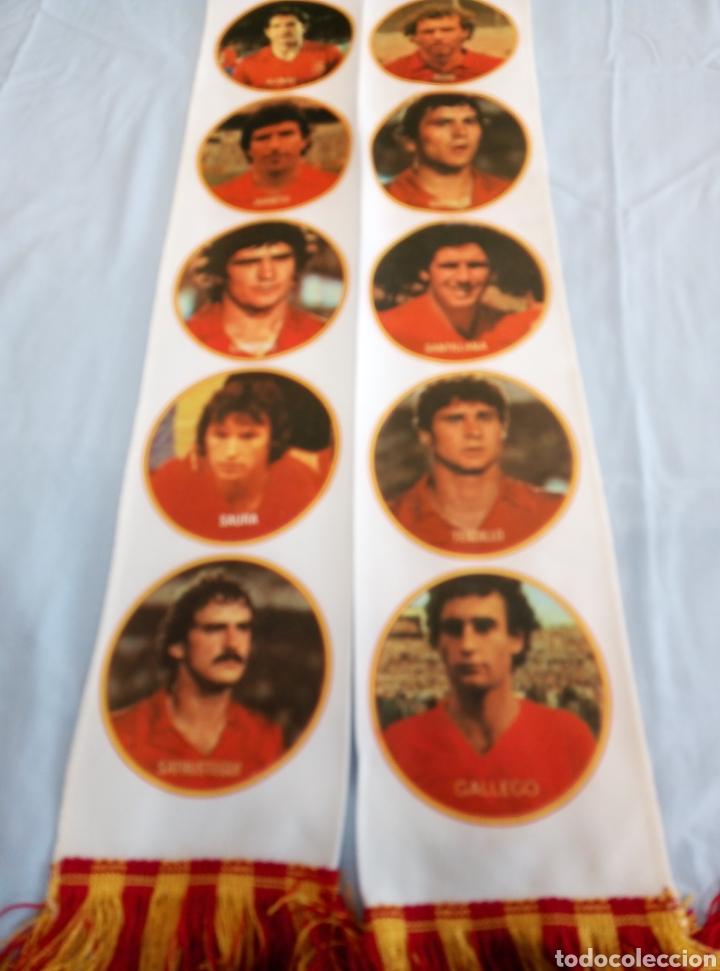Coleccionismo deportivo: Bufanda del Equipo Nacional Español de Fútbol. De la etapa Quini, Arconada. - Foto 7 - 219695003