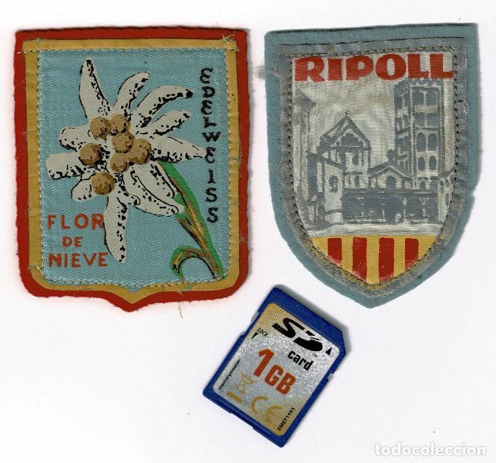 DOS PARCHES TEXTILES, RIPOLL Y EDELWEISS. AÑOS 50 O 60. (Coleccionismo Deportivo - Banderas y Banderines otros Deportes)