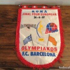 Collectionnisme sportif: BANDERIN BALONCESTO FINAL FOUR EUROPEAN ROMA 24 - 4 - 1997 BASKET OLYMPIAKOS F C BARCELONA. Lote 265763339