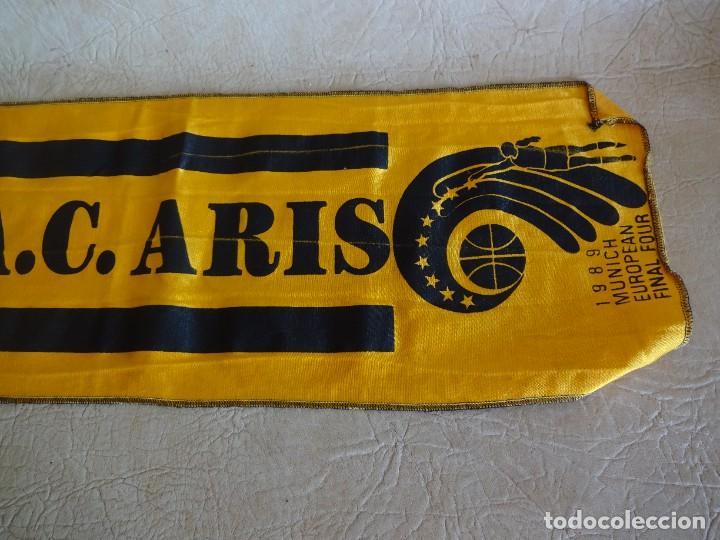 Coleccionismo deportivo: bandera tipo bufanda original final four 1989 munich A.C. Aris - Foto 4 - 268949839