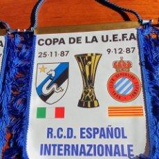 Coleccionismo deportivo: BANDERIN GAGLIARDETTO PENNANT RCD ESPAÑOL- INTERNAZIONALE MILAN 1987. Lote 287625183