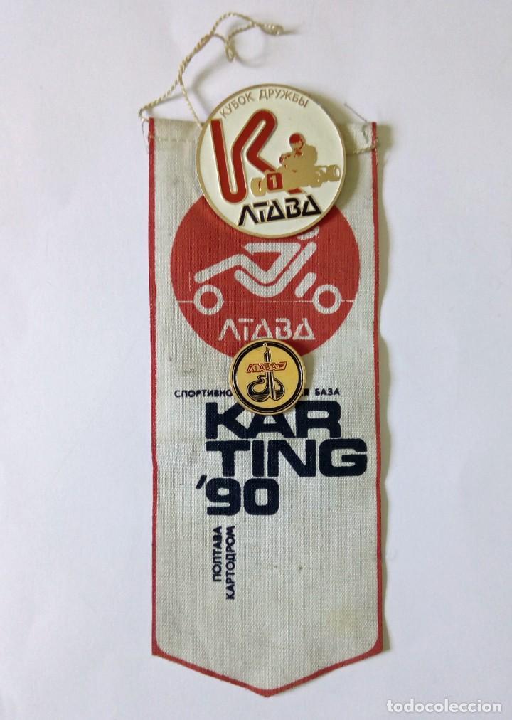 ANTIGUA URSS BANDERÍN Y CHAPAS PIN CAMPEONATO DE KARTING '90 EN POLTAVA ACTUALMENTE UCRANIA (Coleccionismo Deportivo - Banderas y Banderines otros Deportes)