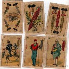 Barajas de cartas: 10 NAIPES DE LA BARAJA CONOCIDA COMO DE PEDRO MALDONADO, 1ª BARAJA TAURINA. 1875. BANDERILLAS.. Lote 28309677