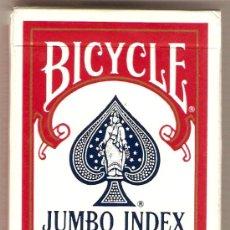 Barajas de cartas: BARAJA COLECCIONISMO DE POKER- 52 CARTAS+ JOKER- MARCA BICYCLE,JUMBO INDEX-FABRICADA EN USA. Lote 26230186