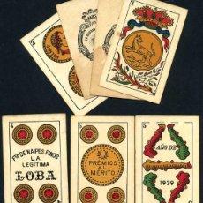 Barajas de cartas: BARAJA JUAN ROURA , LA HISPANO AMERICANA. LA LOBA , COMPLETA , 1939, RARA , 48 NAIPES + 2 COMODINES. Lote 26822933