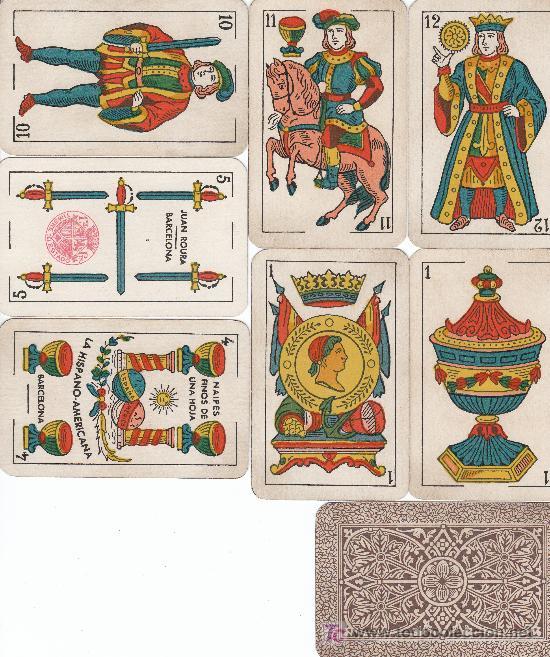 BARAJA CLASICA CON 40 NAIPES FABRICANTE JUAN ROURA, HISPANO-AMERICANA, TIMBRE 1,25 PTA. (Juguetes y Juegos - Cartas y Naipes - Baraja Española)