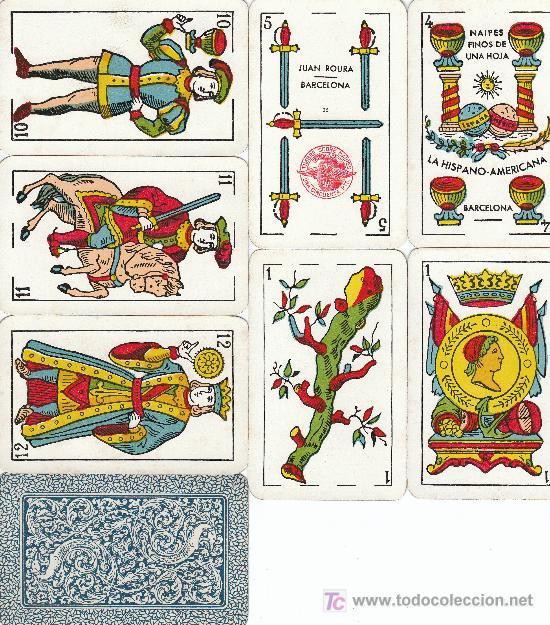 BARAJA CLASICA CON 48 NAIPES FABRICANTE JUAN ROURA, HISPANO-AMERICANA, TIMBRE 1,50 PTA. (Juguetes y Juegos - Cartas y Naipes - Baraja Española)