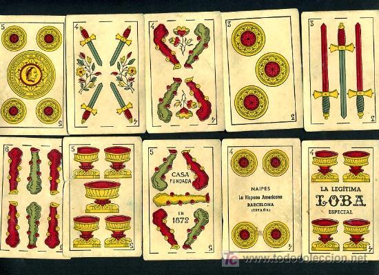 Barajas de cartas: BARAJA JUAN ROURA , HISPANO AMERICANA , LA LOBA , COMPLETA 48 NAIPES , EXPORTACION , MUY ANTIGUA - Foto 5 - 26907491