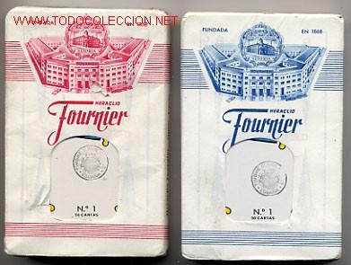 2 BARAJAS BARAJA FOURNIER, ORIGINALES, CON LOS PRECINTOS , AÑO 1962 , AZUL Y ROJA , RB (Juguetes y Juegos - Cartas y Naipes - Baraja Española)