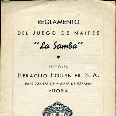 Barajas de cartas: REGLAMENTO DEL JUEGO DE NAIPES LA SAMBA - EDITADO POR HERACLIO FOURNIER - 2ª EDICIÓN 1959. Lote 27344287