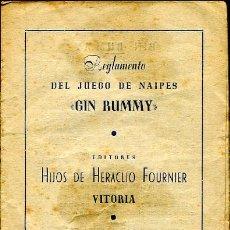 Barajas de cartas: REGLAMENTO DEL JUEGO DE NAIPES GIN RUMMY - EDITADO POR HERACLIO FOURNIER - 1950. Lote 27215839