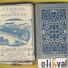Barajas de cartas: NAIPE.BARAJA.-SIMEON DURA -1888-CLASE Nº 27G NUMERADA DORSO AZUL 661 ENVASE ORIGINAL. Lote 14880334