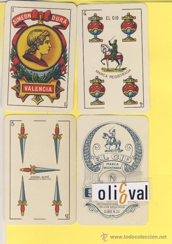 NAIPES.BARAJA.-SIMEON DURA -1888-CLASE Nº 27G NUMERADA 0573DORSO AZUL-ALGUNAS CARTAS DETERIORADAS (Juguetes y Juegos - Cartas y Naipes - Baraja Española)